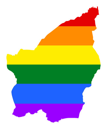 fetishes: San Marino pride gay map with rainbow flag colors. Europe country. EU state. Illustration