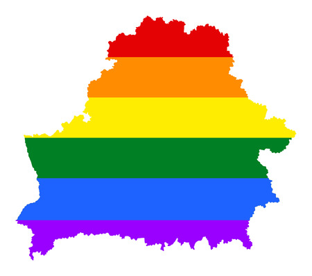Belarus pride gay map with rainbow flag colors. Europe country. EU state. Illustration