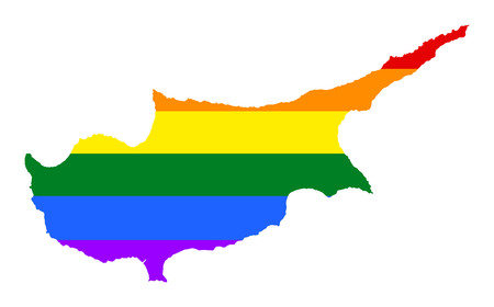 Cyprus pride gay map with rainbow flag colors. Europe country. EU state.