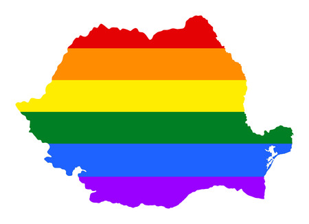 Romania pride gay map with rainbow flag colors. Europe country. EU state. Illustration