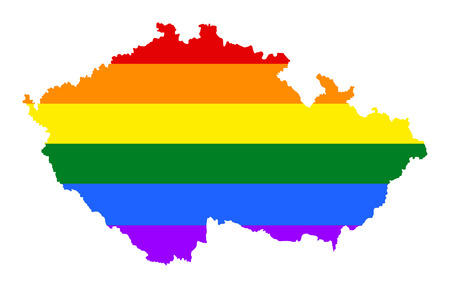 Czech pride gay map with rainbow flag colors. Europe country. EU state.