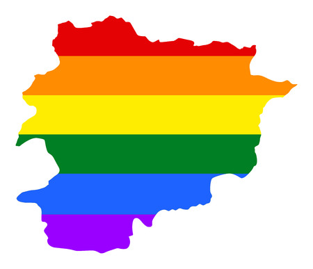 flirting: Andora pride gay map with rainbow flag colors. Europe country. EU state.