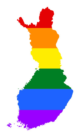 lapland: Finland pride gay map with rainbow flag colors. Europe country. EU state.