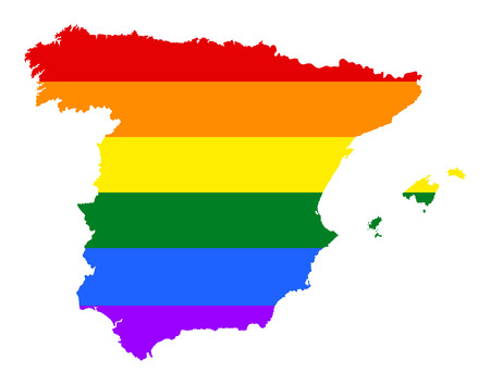 Spain pride gay map with rainbow flag colors. Europe country. EU state.