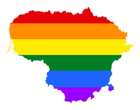 fetishes: Lithuania  pride gay map with rainbow flag colors. Europe country. EU state.