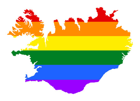 Iceland  pride gay map with rainbow flag colors. Europe country. EU state.