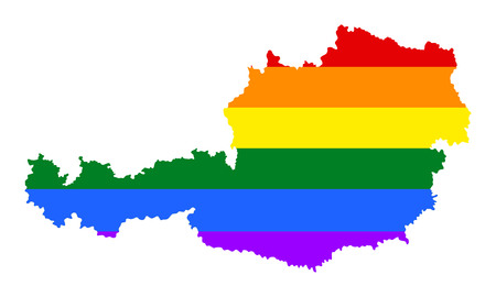 Austria pride gay map with rainbow flag colors. Europe country. EU state. Illustration