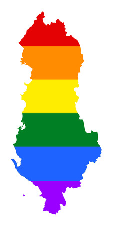 fetishes: Albania pride gay map with rainbow flag colors. Europe country. EU state. Illustration