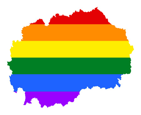 fetishes: Macedonia pride gay map with rainbow flag colors. Europe country. EU state. Illustration