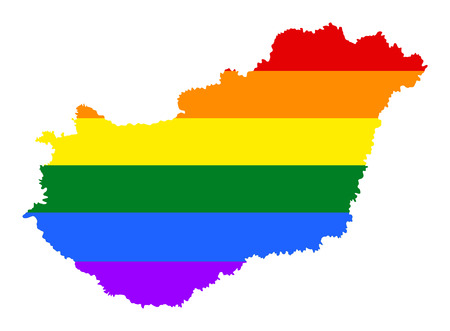 Hungary pride gay map with rainbow flag colors. Europe country. EU state.