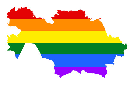 Kazakhstan pride gay map with rainbow flag colors. Asian country.