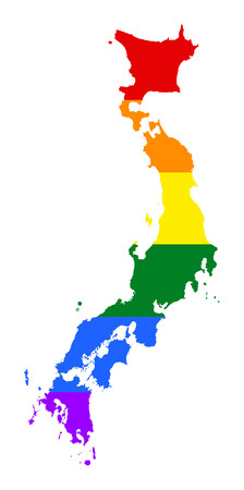 Japan pride gay map with rainbow flag colors. Asian country.