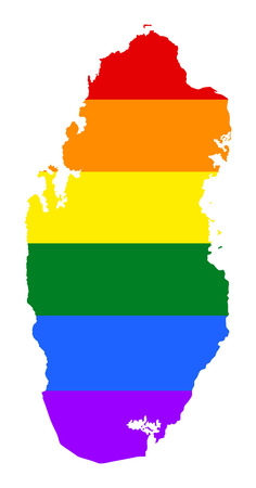 Qatar pride gay map with rainbow flag colors. Asian country.