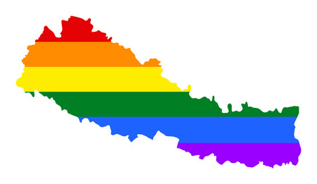 Nepal pride gay map with rainbow flag colors. Asian country.