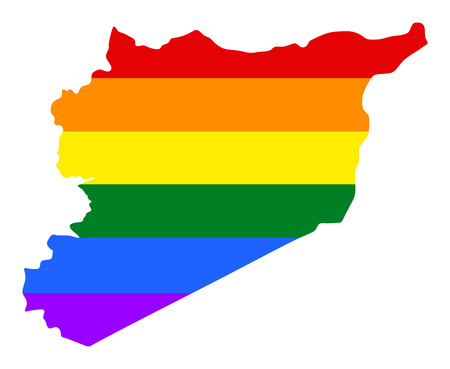 Syria pride gay map with rainbow flag colors. Asian country.