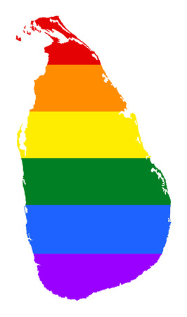 Sri Lanka pride gay map with rainbow flag colors. Asian country.