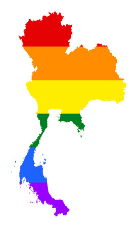 Thailand pride gay map with rainbow flag colors. Asian country.