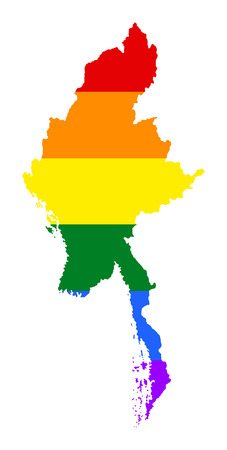 Myanmar pride gay map with rainbow flag colors. Asian country. Illustration
