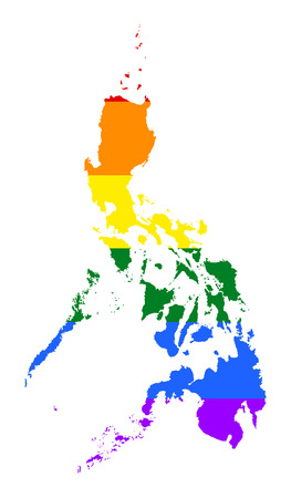 Philippines pride gay map with rainbow flag colors. Asian country.