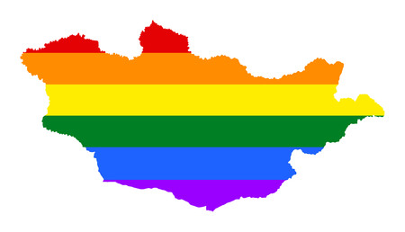 Mongolia pride gay map with rainbow flag colors. Asian country. Illustration