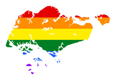 Singapore pride gay map with rainbow flag colors. Asian country.