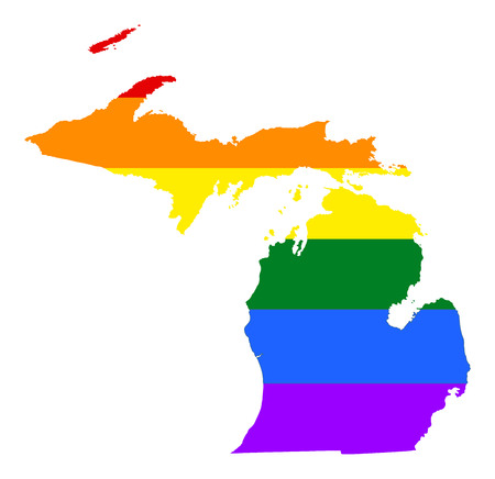 Michigan pride gay map with rainbow flag colors. United States of America. Gay flag over Michigan state map. Rainbow flag.