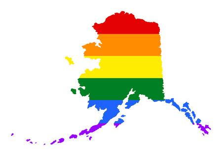 虹の旗の色とアラスカ プライド ゲイ マップ。アメリカ合衆国。アラスカ州マップ上のゲイのフラグです。虹色の旗。  イラスト・ベクター素材