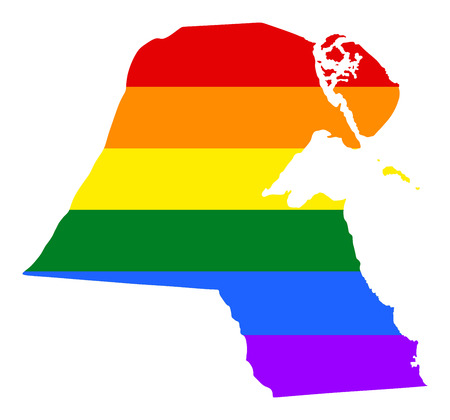 Kuwait pride gay map with rainbow flag colors. Asian country. Illustration