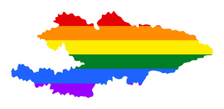 Kyrgyzstan pride gay map with rainbow flag colors. Asian country.