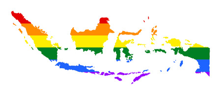 Indonesia pride gay map with rainbow flag colors. Asian country.