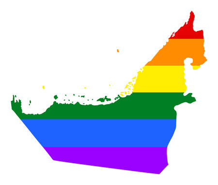 United Arab Emirates pride gay map with rainbow flag colors. Asian country.