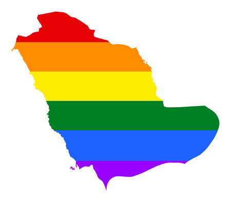 sheik: Saudi Arabia pride gay map with rainbow flag colors. Asian country. Illustration