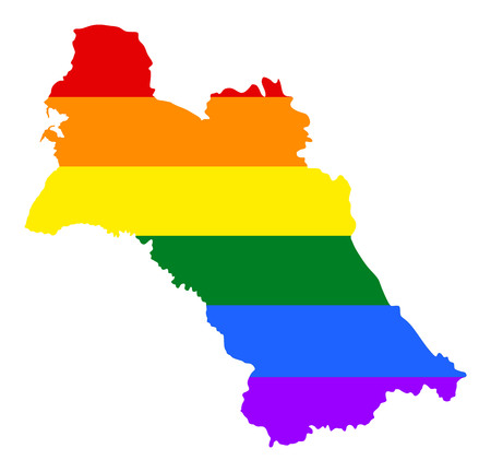 fetishes: Turkmenistan pride gay map with rainbow flag colors. Asian country.