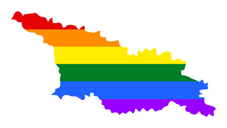 Georgia pride gay map with rainbow flag colors. Asian country. Illustration