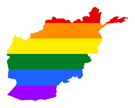Afghanistan pride gay map with rainbow flag colors. Asian country.