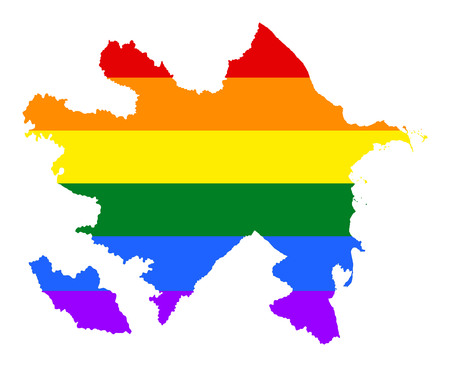 Azerbaijan pride gay map with rainbow flag colors. Asian country.