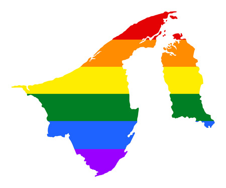 Brunei pride gay map with rainbow flag colors. Asian country.