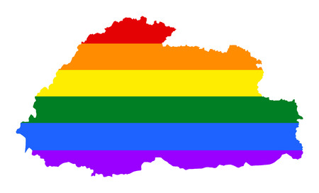 fetishes: Bhutan pride gay map with rainbow flag colors. Asian country.