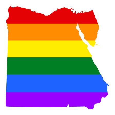 fetishes: Egypt pride gay map with rainbow flag colors. Asian country.