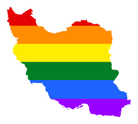 Iran pride gay map with rainbow flag colors. Asian country. Illustration