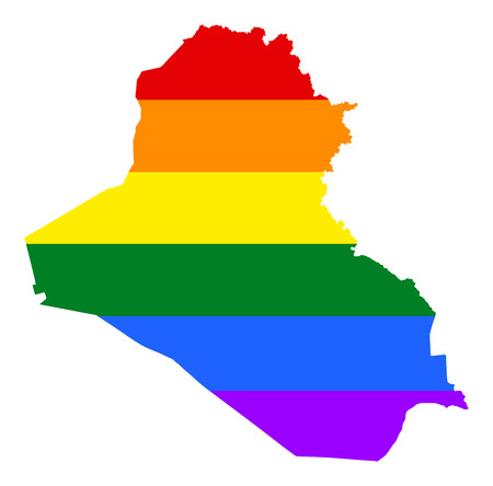 Iraq pride gay map with rainbow flag colors. Asian country. Illustration