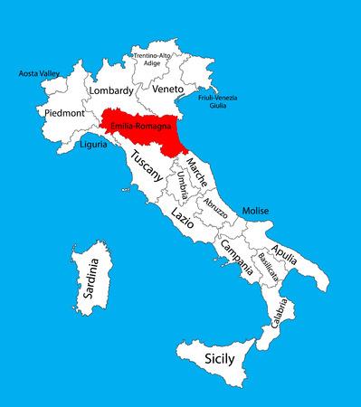 Emilia-Romagna IT-vectorkaart. Italië vector kaart geïsoleerd. Bewerkbare vector kaart van Italië. Stockfoto - 72371314