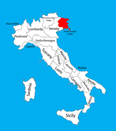 Friuli-Venezia Giulia, Italy, vector map illustration isolated on background. Editable vector map of Italy.