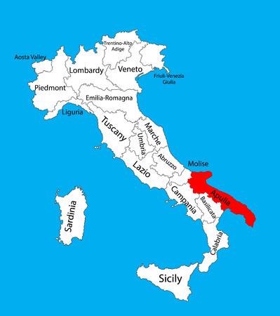 carte des pouilles italie Pouilles, Pulia, Italie, Illustration Vectorielle De Carte Isolée