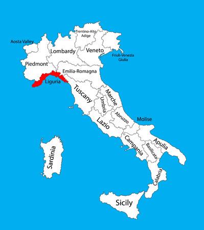 리구 리아 주, 이탈리아, 벡터지도 그림 배경에 고립. 이탈리아의 편집 가능한 벡터지도입니다.