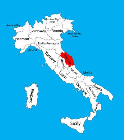 Marche, Italia, illustrazione mappa vettoriale isolato su sfondo. Mappa vettoriale modificabile d'Italia.