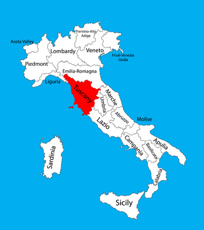 Toscana, Toscana, Italia, illustrazione vettoriale mappa isolato su sfondo. Mappa modificabile dell'Italia.