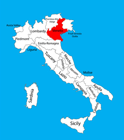 Veneto, Italy, vector map illustration isolated on background. Editable map of Italy. Illustration
