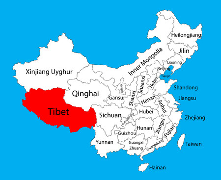 Tibet province map, China vector map illustration isolated on background. Editable China map vector.