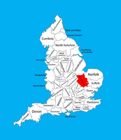 Vector map of Cambridgeshire in East of England, United Kingdom with regions. England vector map.